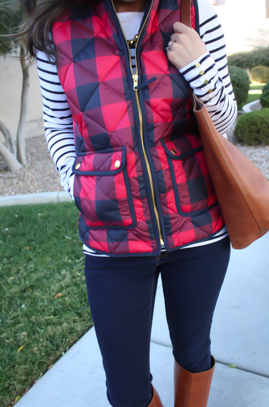 Red Buffalo Plaid Quilted Vest, White and Navy Striped Tee, Dark Rinse Skinny Jeans, Cognac Boots, Cognac Tote, J.Crew, H&M, Gap, Loeffler Randall, Madewell 17