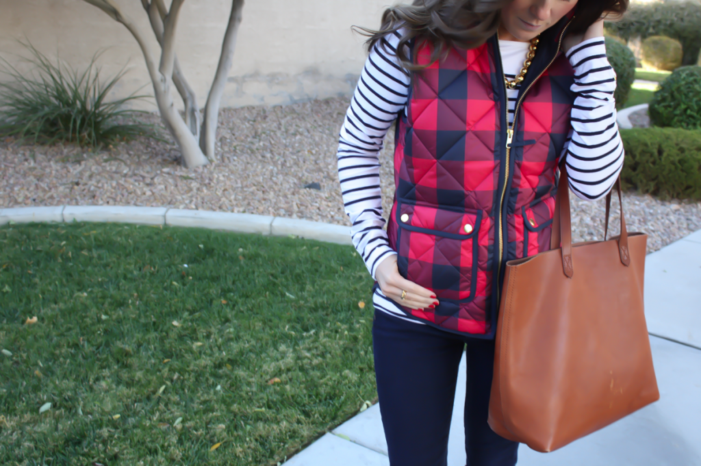 Red Buffalo Plaid Quilted Vest, White and Navy Striped Tee, Dark Rinse Skinny Jeans, Cognac Boots, Cognac Tote, J.Crew, H&M, Gap, Loeffler Randall, Madewell 18