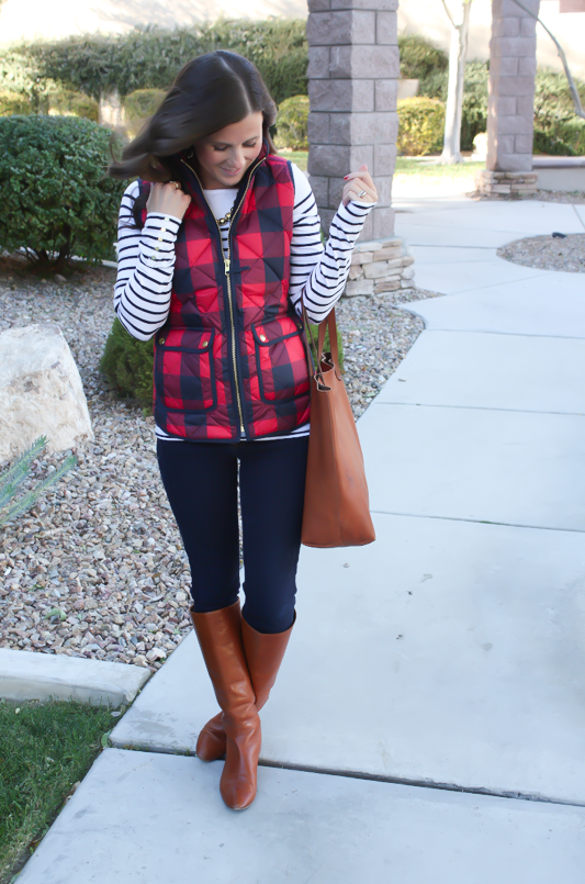 Red Buffalo Plaid Quilted Vest, White and Navy Striped Tee, Dark Rinse Skinny Jeans, Cognac Boots, Cognac Tote, J.Crew, H&M, Gap, Loeffler Randall, Madewell 2
