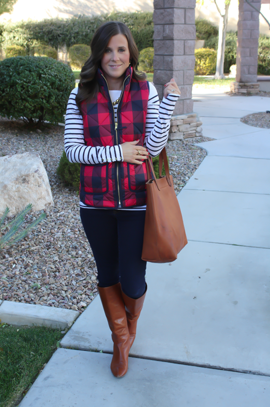 Red Buffalo Plaid Quilted Vest, White and Navy Striped Tee, Dark Rinse Skinny Jeans, Cognac Boots, Cognac Tote, J.Crew, H&M, Gap, Loeffler Randall, Madewell