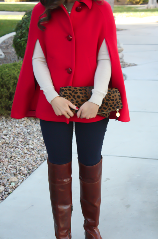 Red Cape, Beige Merino Sweater, Dark Rinse Skinny Jeans, Brown Over the Knee Boots, Leopard Foldover Clutch, Pearl Necklace, Kate Spade, Gap, Frye Boots, Clare V, J.Crew 10