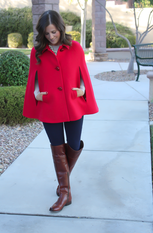 Red Cape, Beige Merino Sweater, Dark Rinse Skinny Jeans, Brown Over the Knee Boots, Leopard Foldover Clutch, Pearl Necklace, Kate Spade, Gap, Frye Boots, Clare V, J.Crew 11