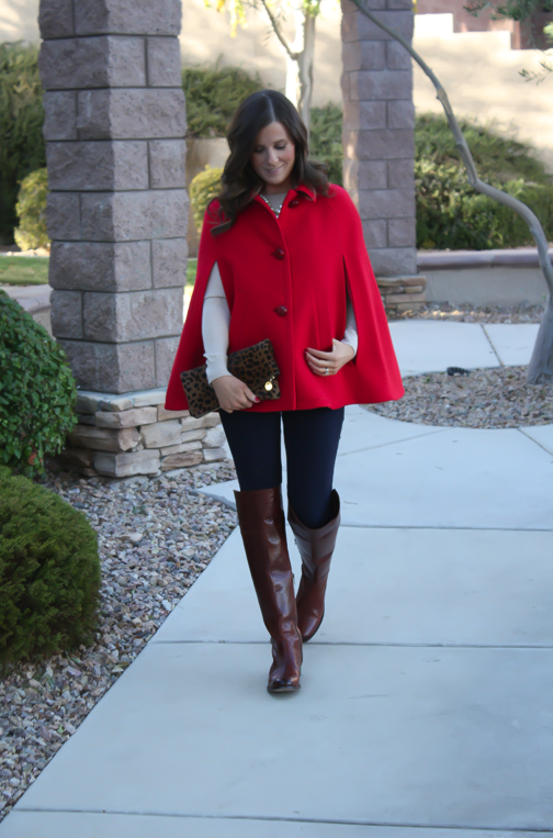 Red Cape, Beige Merino Sweater, Dark Rinse Skinny Jeans, Brown Over the Knee Boots, Leopard Foldover Clutch, Pearl Necklace, Kate Spade, Gap, Frye Boots, Clare V, J.Crew 14