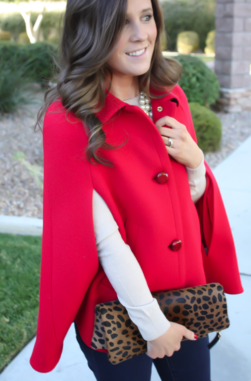Red Cape, Beige Merino Sweater, Dark Rinse Skinny Jeans, Brown Over the Knee Boots, Leopard Foldover Clutch, Pearl Necklace, Kate Spade, Gap, Frye Boots, Clare V, J.Crew 15