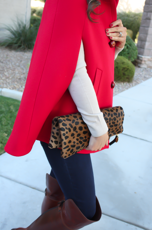 Red Cape, Beige Merino Sweater, Dark Rinse Skinny Jeans, Brown Over the Knee Boots, Leopard Foldover Clutch, Pearl Necklace, Kate Spade, Gap, Frye Boots, Clare V, J.Crew 18
