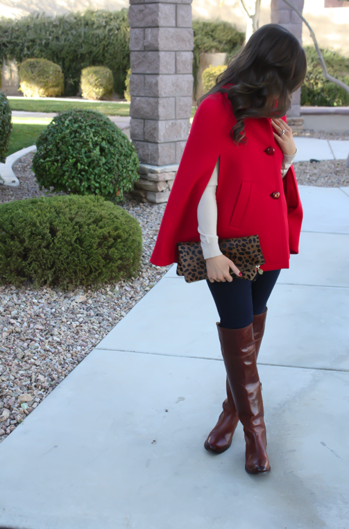 Red Cape, Beige Merino Sweater, Dark Rinse Skinny Jeans, Brown Over the Knee Boots, Leopard Foldover Clutch, Pearl Necklace, Kate Spade, Gap, Frye Boots, Clare V, J.Crew 3
