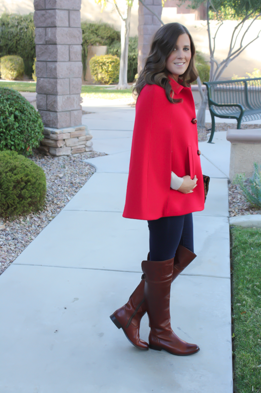 Red Cape, Beige Merino Sweater, Dark Rinse Skinny Jeans, Brown Over the Knee Boots, Leopard Foldover Clutch, Pearl Necklace, Kate Spade, Gap, Frye Boots, Clare V, J.Crew 4