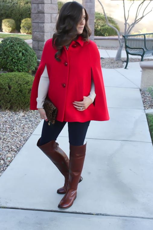 Red Cape, Beige Merino Sweater, Dark Rinse Skinny Jeans, Brown Over the Knee Boots, Leopard Foldover Clutch, Pearl Necklace, Kate Spade, Gap, Frye Boots, Clare V, J.Crew 5