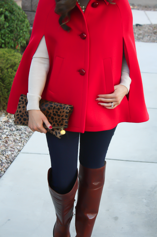 Red Cape, Beige Merino Sweater, Dark Rinse Skinny Jeans, Brown Over the Knee Boots, Leopard Foldover Clutch, Pearl Necklace, Kate Spade, Gap, Frye Boots, Clare V, J.Crew 6