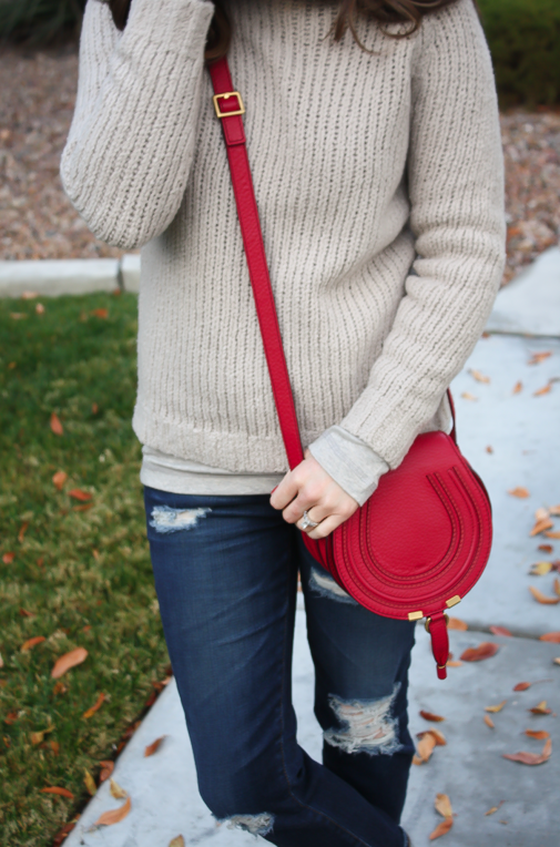 Beige Turtleneck Sweater, Distressed Skinny Jeans, Brown Booties, Red Crossbody, Banana Republic, AG Jeans, Rag and Bone, Chloe 13