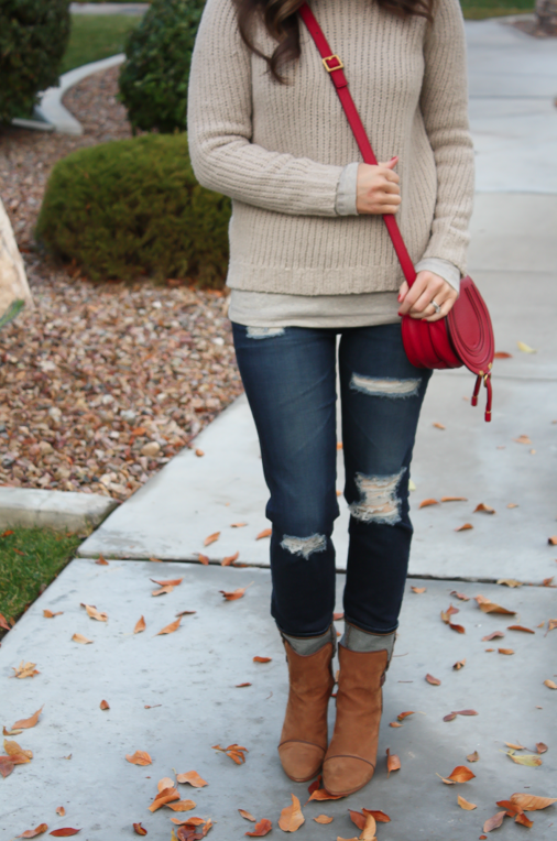 Beige Turtleneck Sweater, Distressed Skinny Jeans, Brown Booties, Red Crossbody, Banana Republic, AG Jeans, Rag and Bone, Chloe 18
