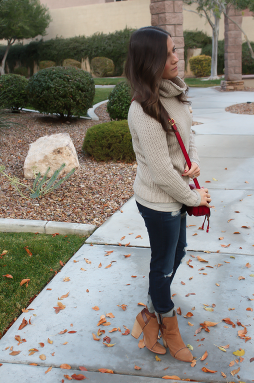 Beige Turtleneck Sweater, Distressed Skinny Jeans, Brown Booties, Red Crossbody, Banana Republic, AG Jeans, Rag and Bone, Chloe 5