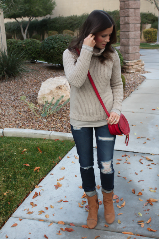 Beige Turtleneck Sweater, Distressed Skinny Jeans, Brown Booties, Red Crossbody, Banana Republic, AG Jeans, Rag and Bone, Chloe 7