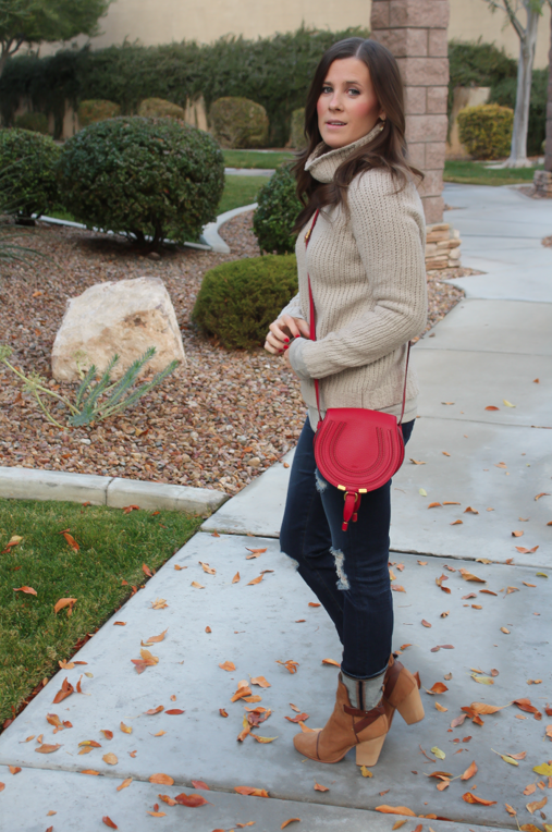 Beige Turtleneck Sweater, Distressed Skinny Jeans, Brown Booties, Red Crossbody, Banana Republic, AG Jeans, Rag and Bone, Chloe