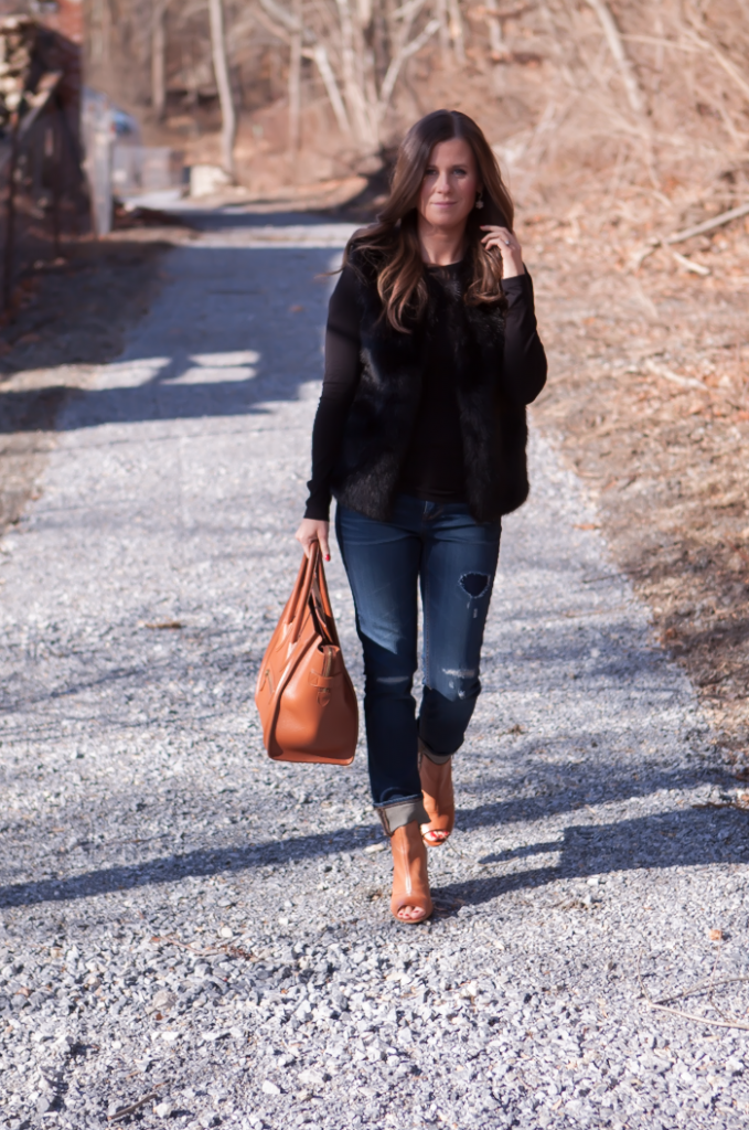 Black Fur Gilet, Black Long Sleeve Tee, Distresed Skinny Jeans, Peepe Toe Booties, Cognac Sturctured Tote, Pearl Earrings, Top Shop, J.Crew, Paul Green, Celine 11