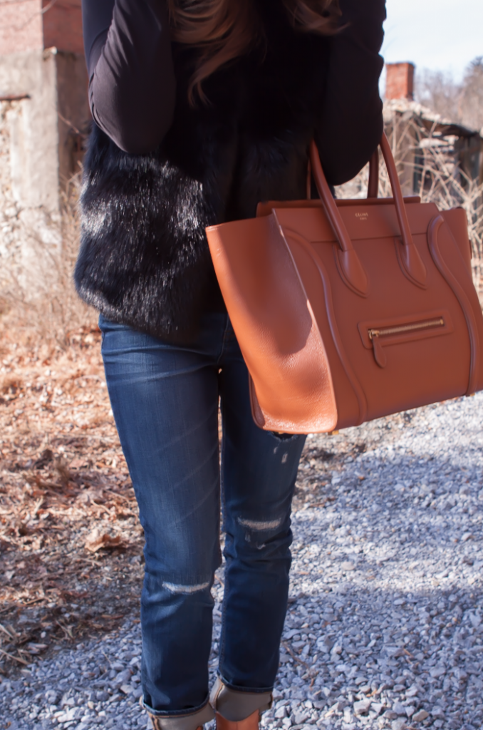 Black Fur Gilet, Black Long Sleeve Tee, Distresed Skinny Jeans, Peepe Toe Booties, Cognac Sturctured Tote, Pearl Earrings, Top Shop, J.Crew, Paul Green, Celine 12
