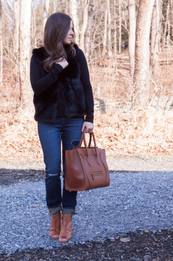 Black Fur Gilet, Black Long Sleeve Tee, Distresed Skinny Jeans, Peepe Toe Booties, Cognac Sturctured Tote, Pearl Earrings, Top Shop, J.Crew, Paul Green, Celine 14