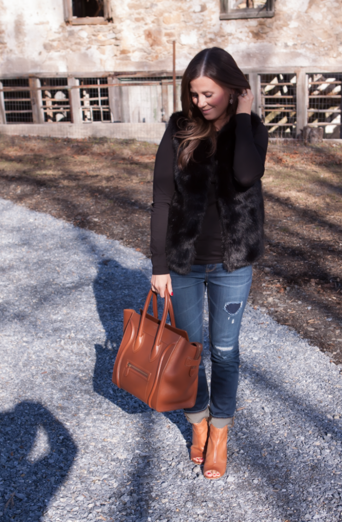 Black Fur Gilet, Black Long Sleeve Tee, Distresed Skinny Jeans, Peepe Toe Booties, Cognac Sturctured Tote, Pearl Earrings, Top Shop, J.Crew, Paul Green, Celine 2