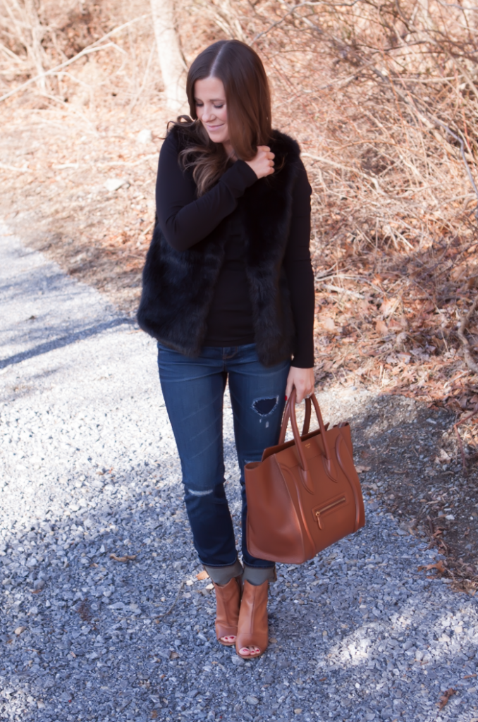Black Fur Gilet, Black Long Sleeve Tee, Distresed Skinny Jeans, Peepe Toe Booties, Cognac Sturctured Tote, Pearl Earrings, Top Shop, J.Crew, Paul Green, Celine 9