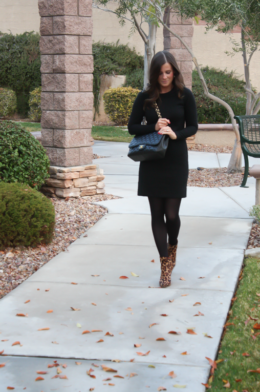 Black Jacquard Dress, Black Opaque Tights, Leopard Booties, Black Quilted Bag, Banana Republic, Target, Joie, Chanel 10