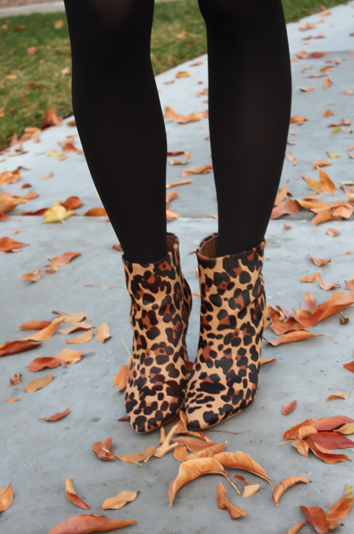 Black Jacquard Dress, Black Opaque Tights, Leopard Booties, Black Quilted Bag, Banana Republic, Target, Joie, Chanel 13