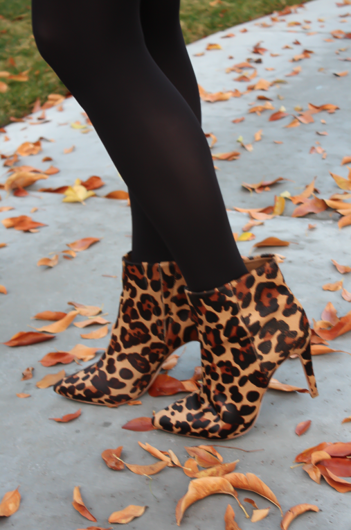 Black Jacquard Dress, Black Opaque Tights, Leopard Booties, Black Quilted Bag, Banana Republic, Target, Joie, Chanel 14