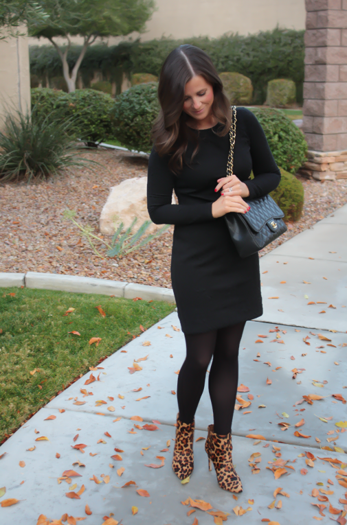 Black Jacquard Dress, Black Opaque Tights, Leopard Booties, Black Quilted Bag, Banana Republic, Target, Joie, Chanel 3