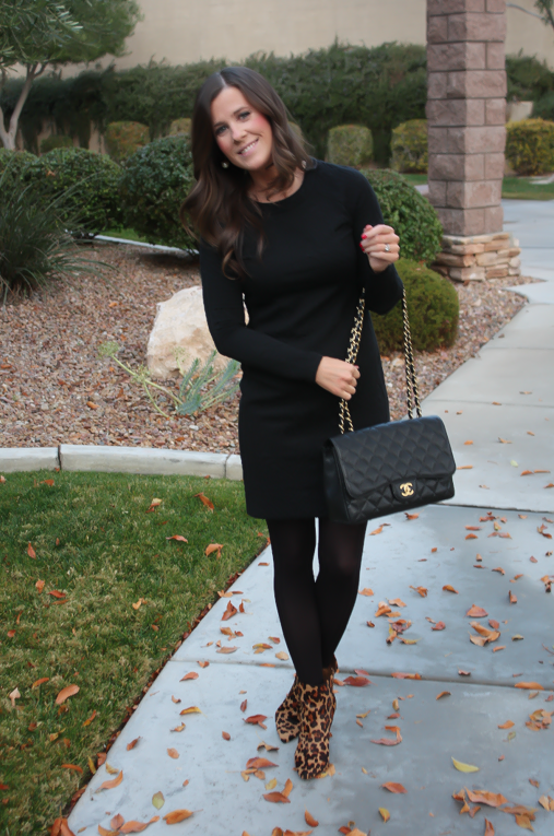 Black Jacquard Dress, Black Opaque Tights, Leopard Booties, Black Quilted Bag, Banana Republic, Target, Joie, Chanel 6