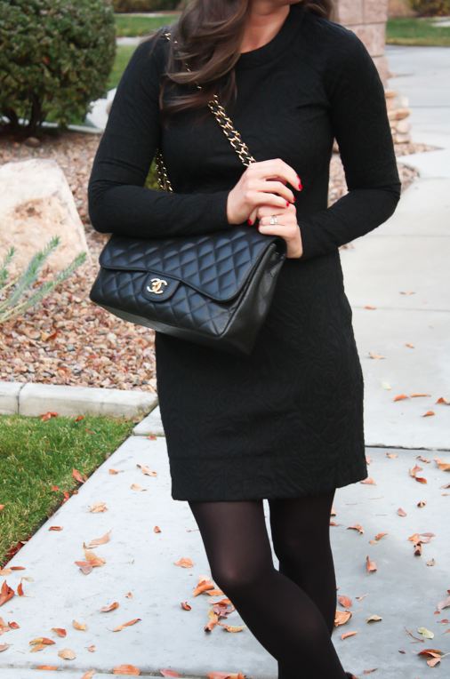 Black Jacquard Dress, Black Opaque Tights, Leopard Booties, Black Quilted Bag, Banana Republic, Target, Joie, Chanel 8