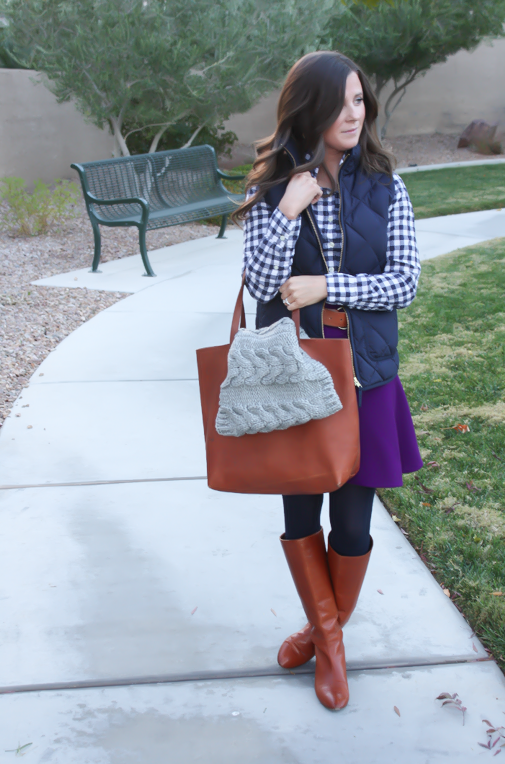 Navy Gingham Shirt, Navy Quilted Vest, Purple Fluted Skirt, Navy Opaque Tights, Cognac Boots and Tote, J.Crew Factory, J.Crew, Target, Loeffler Randall, Madewell, Gap