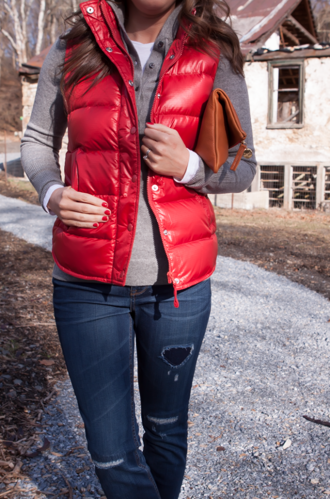 Shiny Red Quilted Vest, Grey Cashmere Hoodie, Distressed Jeans, Tan Mules, Cognac Clutch, J.Crew, Old Navy, Dolce VIta, Clare Vivier 11