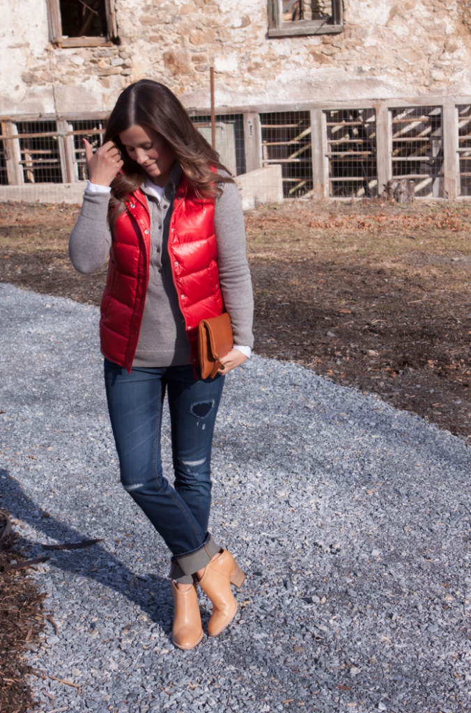 Shiny Red Quilted Vest, Grey Cashmere Hoodie, Distressed Jeans, Tan Mules, Cognac Clutch, J.Crew, Old Navy, Dolce VIta, Clare Vivier 16