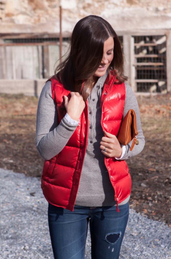 Shiny Red Quilted Vest, Grey Cashmere Hoodie, Distressed Jeans, Tan Mules, Cognac Clutch, J.Crew, Old Navy, Dolce VIta, Clare Vivier 17