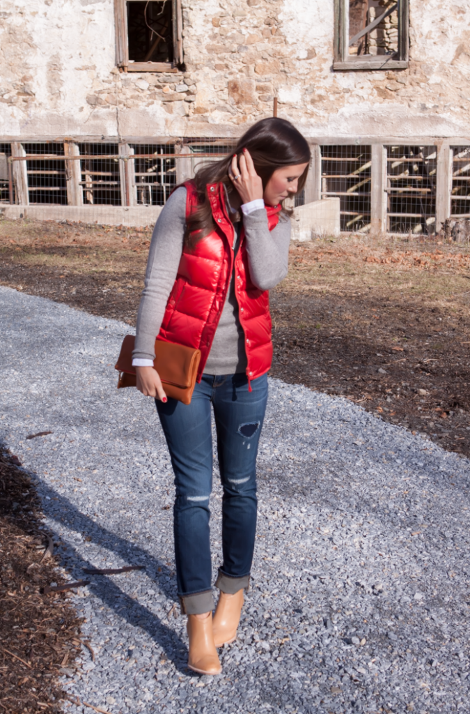 Shiny Red Quilted Vest, Grey Cashmere Hoodie, Distressed Jeans, Tan Mules, Cognac Clutch, J.Crew, Old Navy, Dolce VIta, Clare Vivier