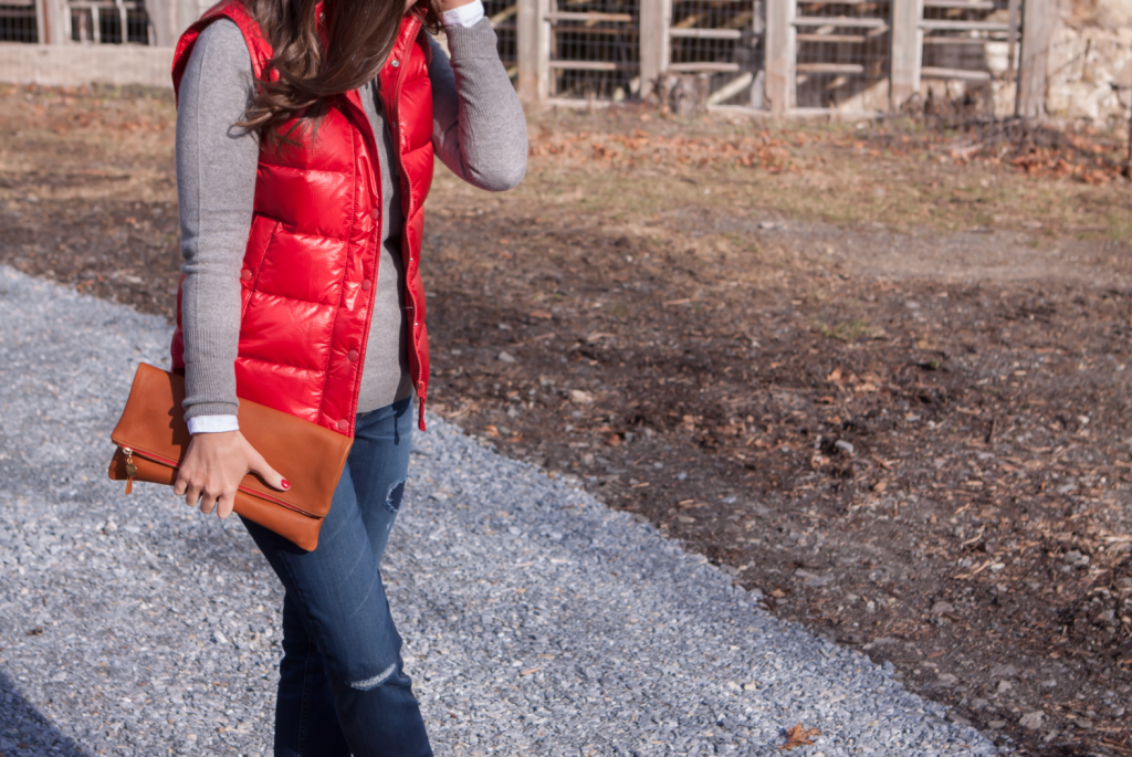 Shiny Red Quilted Vest, Grey Cashmere Hoodie, Distressed Jeans, Tan Mules, Cognac Clutch, J.Crew, Old Navy, Dolce VIta, Clare Vivier 7