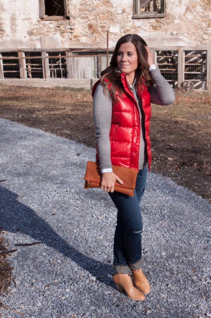 Shiny Red Quilted Vest, Grey Cashmere Hoodie, Distressed Jeans, Tan Mules, Cognac Clutch, J.Crew, Old Navy, Dolce VIta, Clare Vivier 8