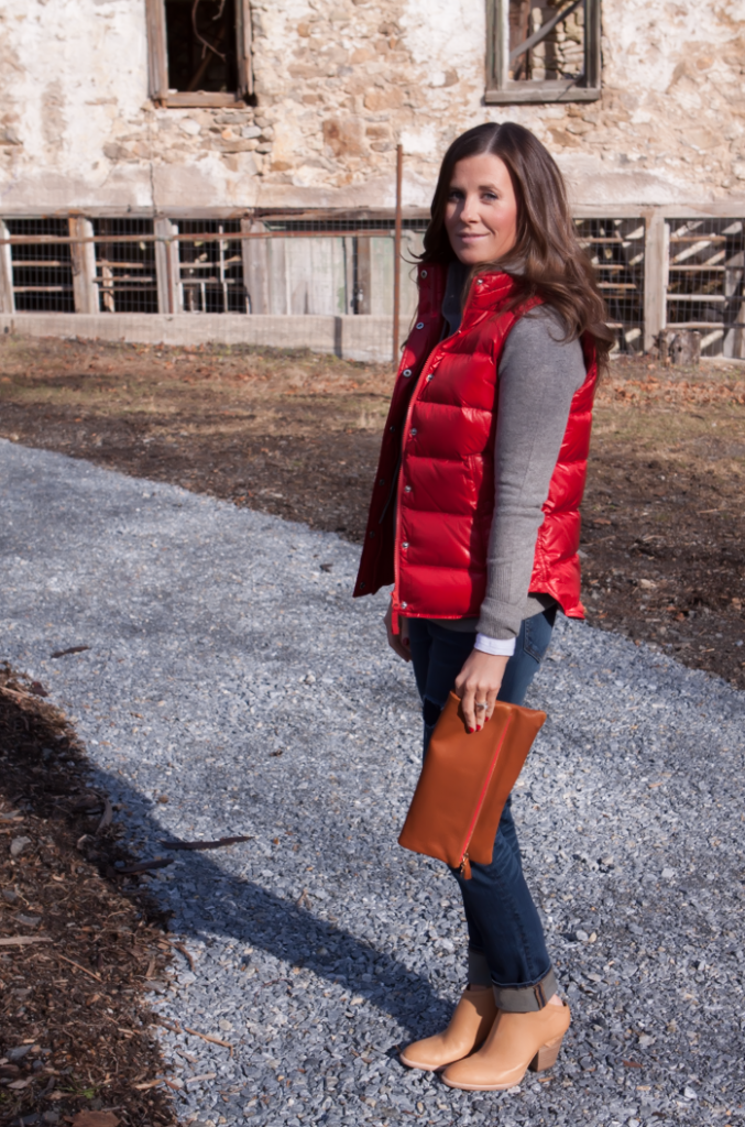 Shiny Red Quilted Vest, Grey Cashmere Hoodie, Distressed Jeans, Tan Mules, Cognac Clutch, J.Crew, Old Navy, Dolce VIta, Clare Vivier 9