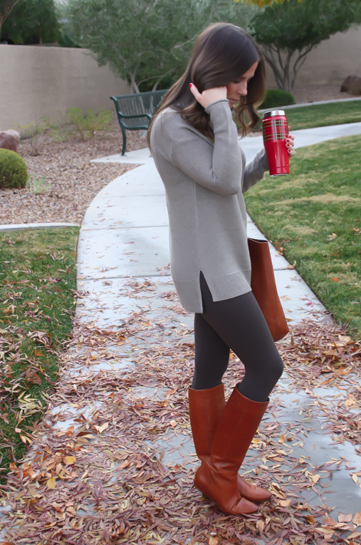 Toggery Leggings, Brown Turtleneck Sweater, Cognac Boots and Tote, Old Navy, Loeffler Randall, Madewell 12