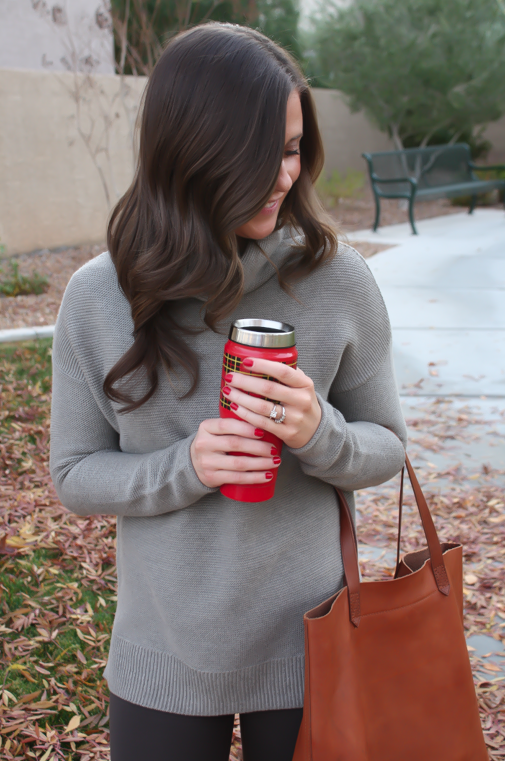 Toggery Leggings, Brown Turtleneck Sweater, Cognac Boots and Tote, Old Navy, Loeffler Randall, Madewell 2