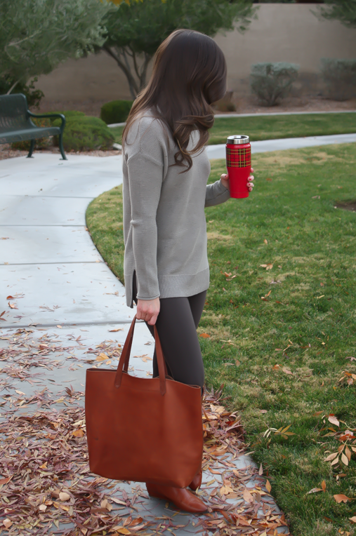 Toggery Leggings, Brown Turtleneck Sweater, Cognac Boots and Tote, Old Navy, Loeffler Randall, Madewell 22