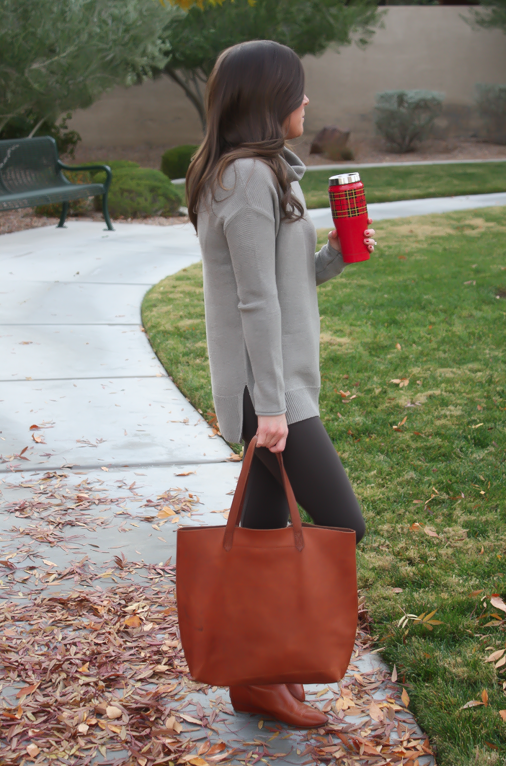 Toggery Leggings, Brown Turtleneck Sweater, Cognac Boots and Tote, Old Navy, Loeffler Randall, Madewell 23