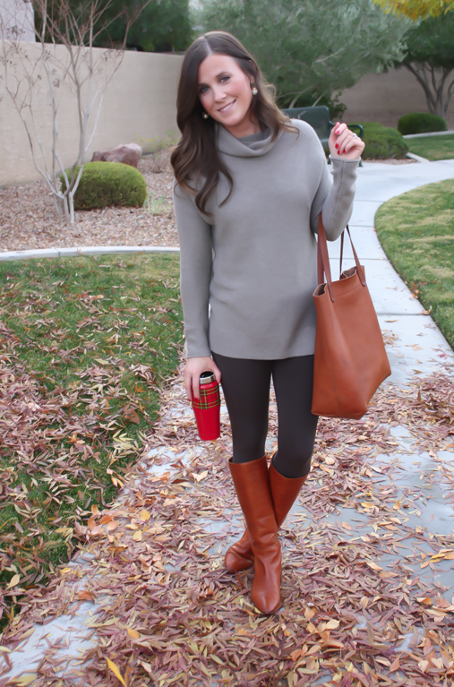 Toggery Leggings, Brown Turtleneck Sweater, Cognac Boots and Tote, Old Navy, Loeffler Randall, Madewell 5