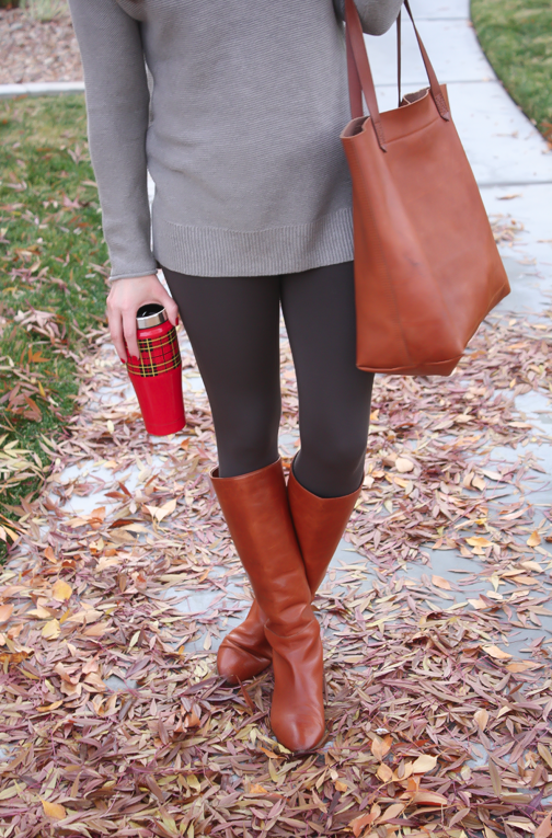 Toggery Leggings, Brown Turtleneck Sweater, Cognac Boots and Tote, Old Navy, Loeffler Randall, Madewell 6