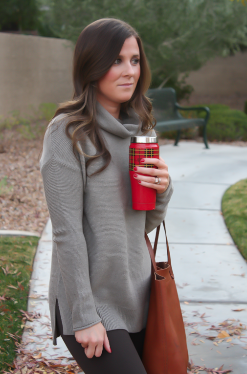 Toggery Leggings, Brown Turtleneck Sweater, Cognac Boots and Tote, Old Navy, Loeffler Randall, Madewell 8