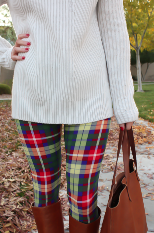 White Plum Plaid Leggings, Ivory Tunic Sweater, Cognac Boots and Tote 11