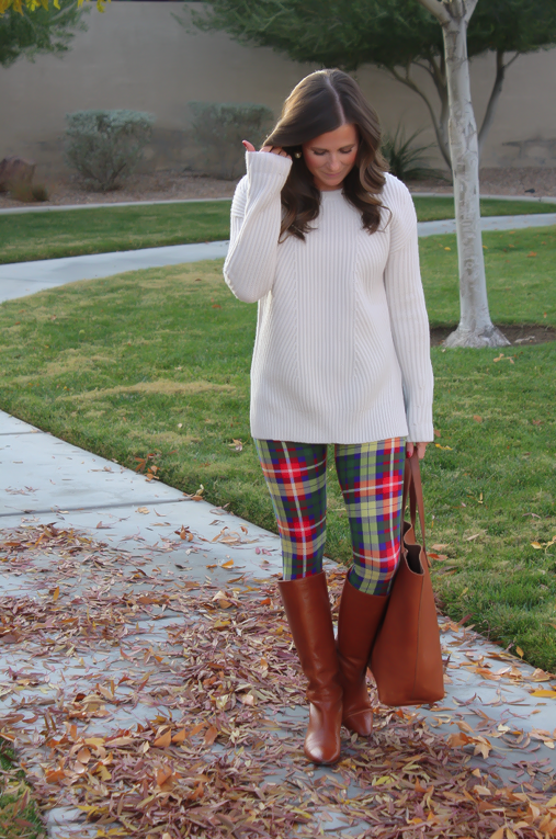 White Plum Plaid Leggings, Ivory Tunic Sweater, Cognac Boots and Tote 2