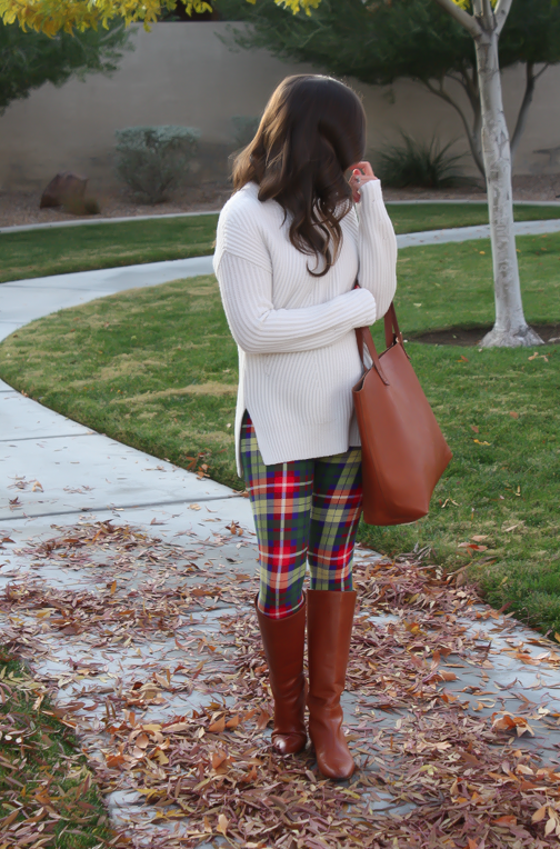 White Plum Plaid Leggings, Ivory Tunic Sweater, Cognac Boots and Tote 3