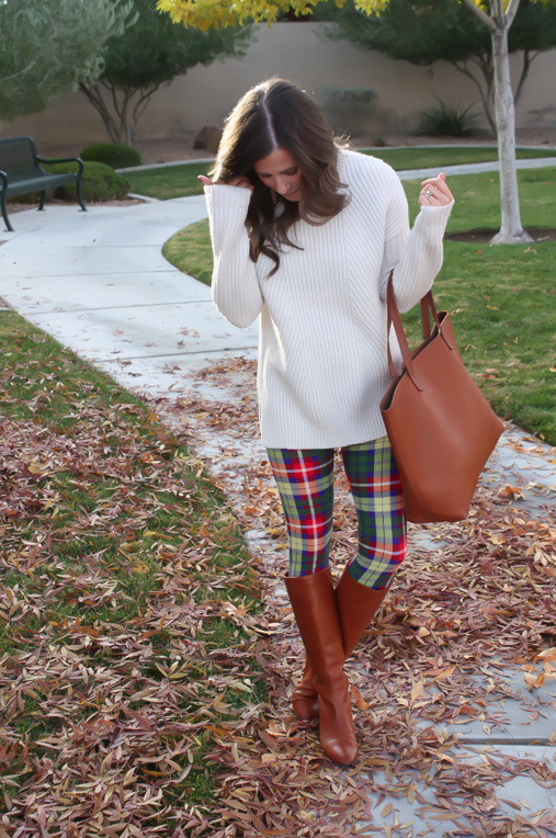 White Plum Plaid Leggings, Ivory Tunic Sweater, Cognac Boots and Tote 4