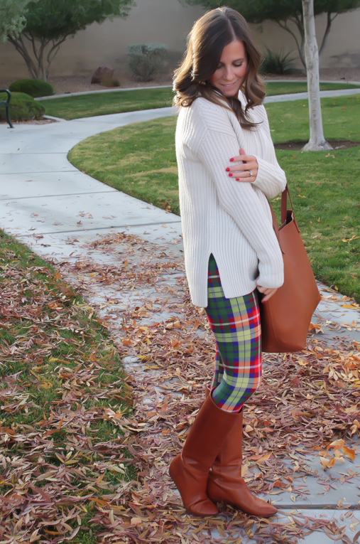 White Plum Plaid Leggings, Ivory Tunic Sweater, Cognac Boots and Tote 5