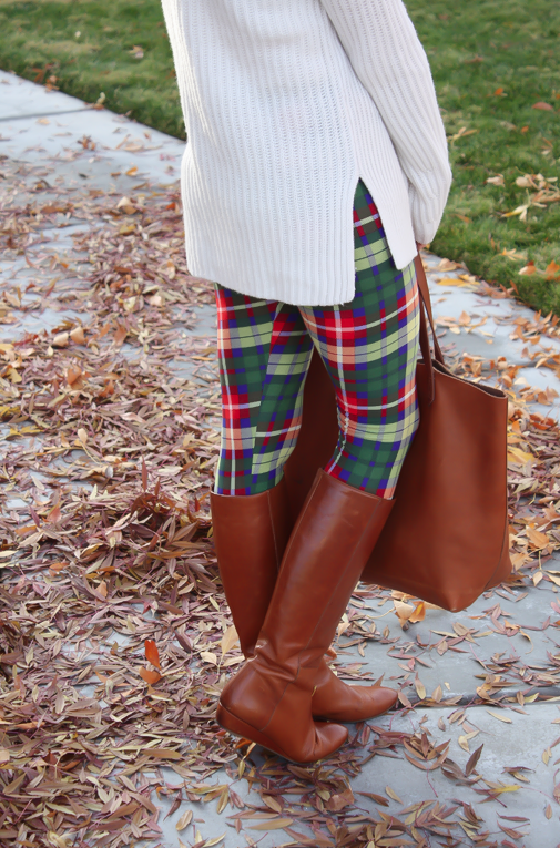 White Plum Plaid Leggings, Ivory Tunic Sweater, Cognac Boots and Tote 6